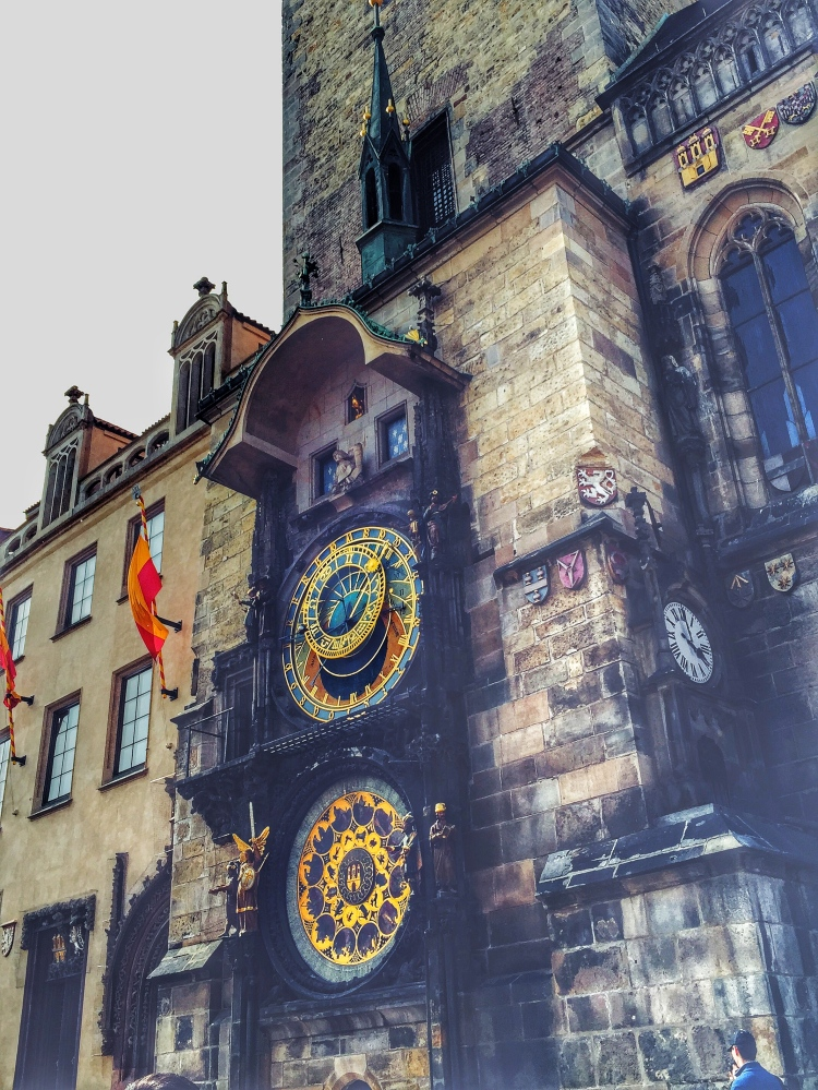 Astronomical Clock, which never stops ticking and moving. Every single hour the clock will rings its loudest sound. Small statues from the two windows will appear and move around. This is a sight you have to witness whenever you're in Prague.