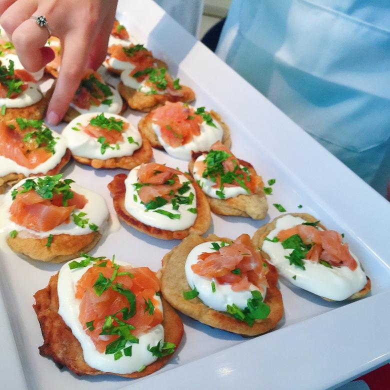 Those salmon mini pancakes are the best