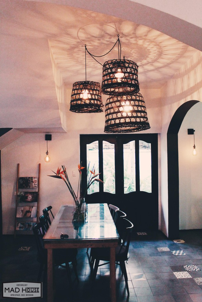 Cool chandeliers made from straw basket. Local material, global design.