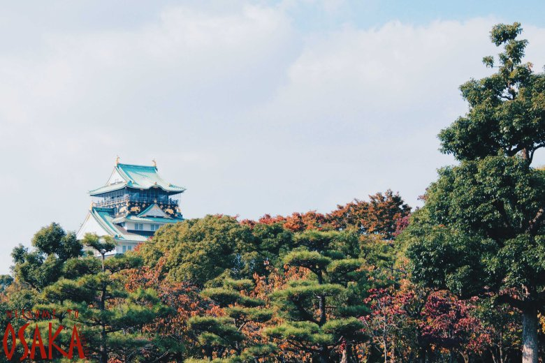 Osaka Castle Tower looking from the park.