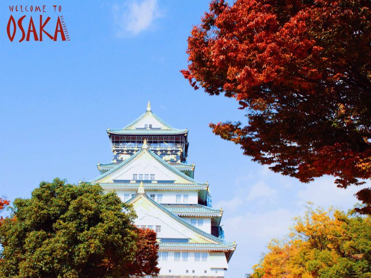 The beautiful icon of Osaka in harmony of autumnal shades