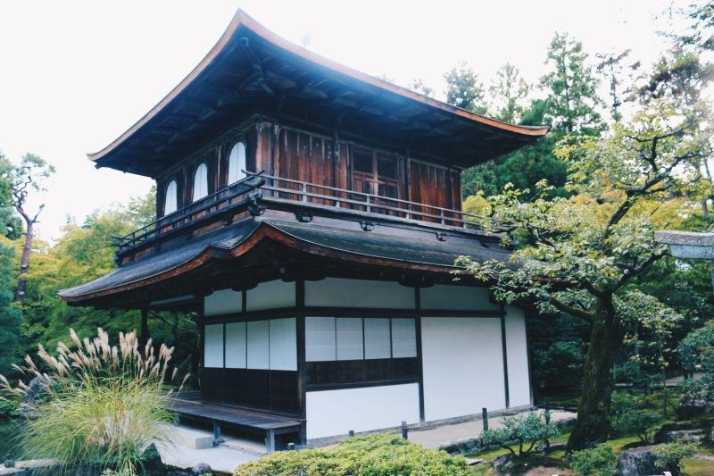 The Ginkaku-ji (Silver Pavillon) is not covered in silver but named as a contrast to Kinkaku-ji