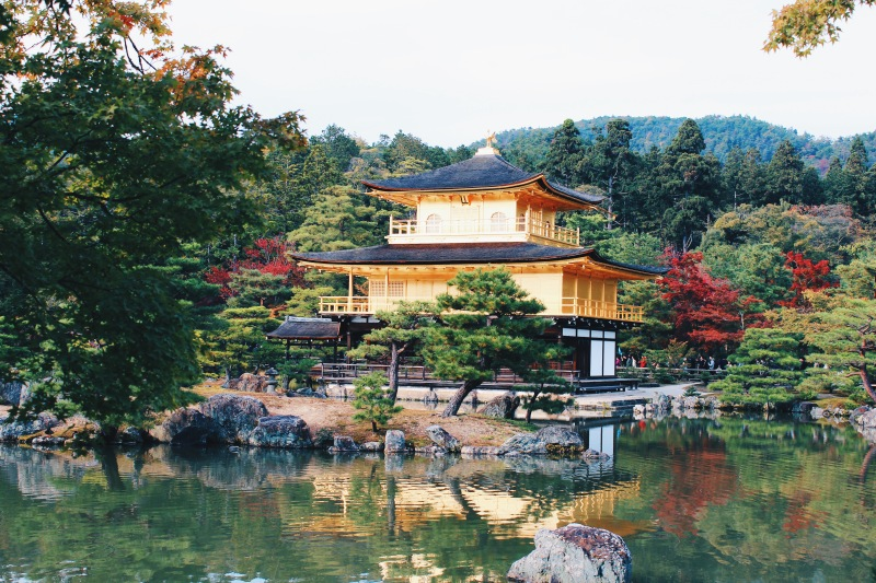 Viewing Kinkaku-ji from the other side of the lake.