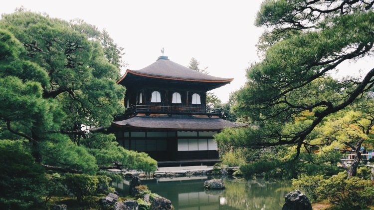 Ginkaku-ji stands out in the moss garden