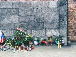 Hoa đặt bên những bức tường tại Auschwitz.