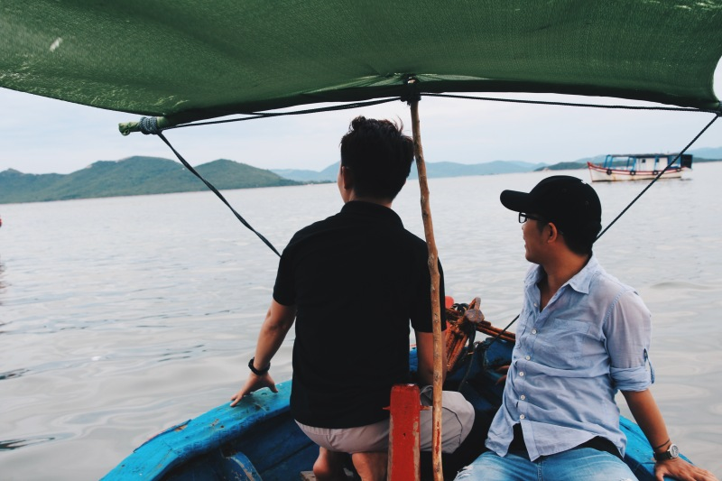 Boat through Van Phong Bay