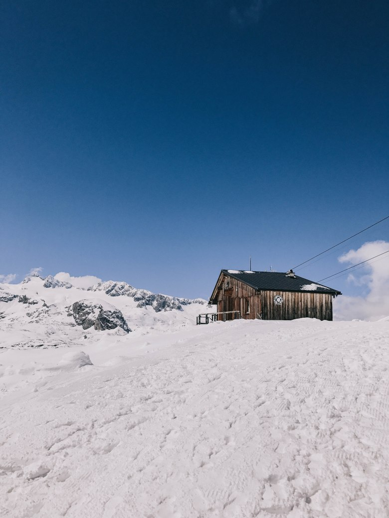 Dachstein cabin on a snow field
