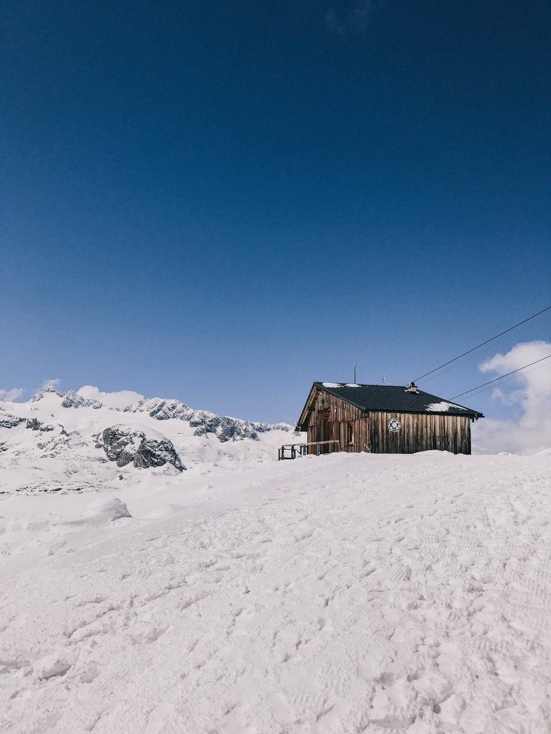 Dachstein cabin on a snow field