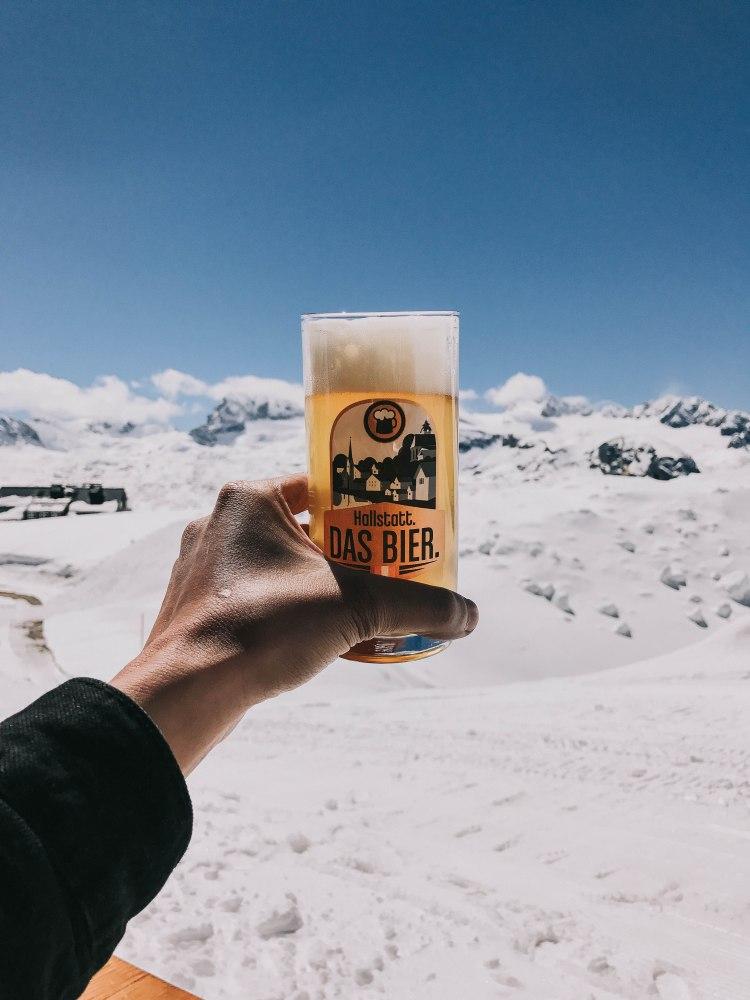 Holding Hallstatt beer