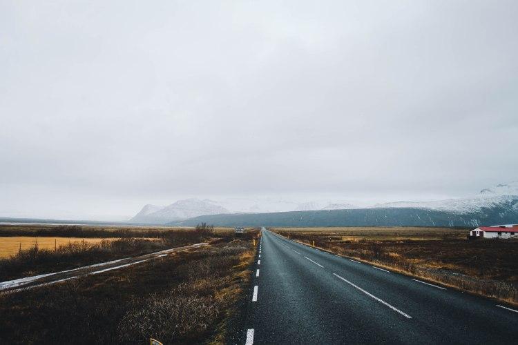 Đường đi ở Nam Iceland