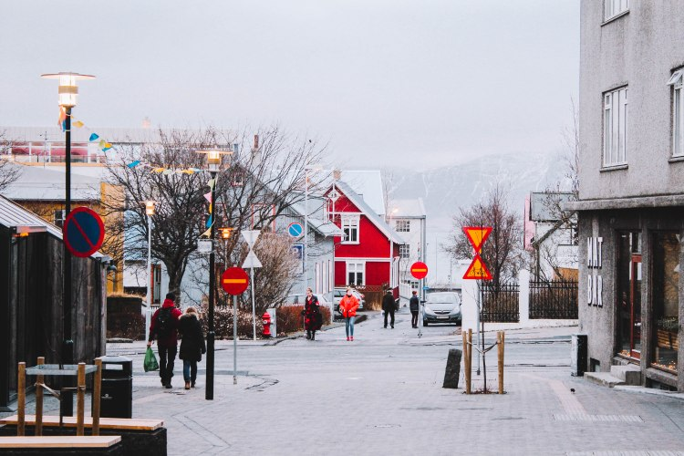 Phố mùa đông ở Reykjavik