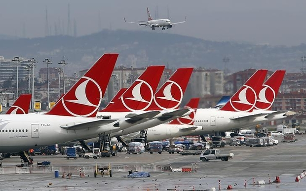 Turkish Airlines aircrafts are parked at Ataturk International Airport in Istanbul