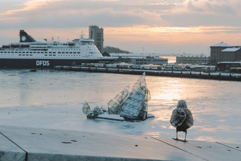 Oslo Opera House nhìn ra cảng biển